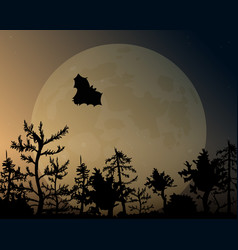 night sky with glow and moon a bat flies over vector image