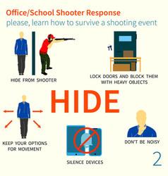 Office school shooter response tips vector