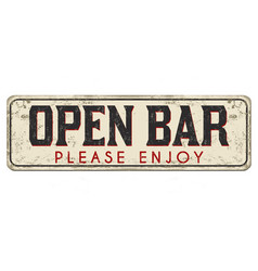 Open bar vintage rusty metal sign vector