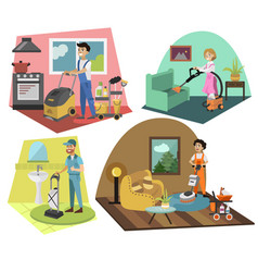people cleaning carpets set vector image