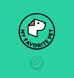 Pet shop logo food for dogs emblem goods vector