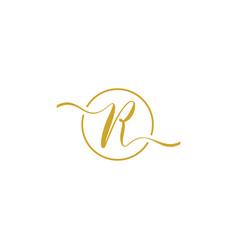 R initial handwriting logo vector