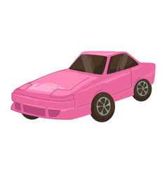 Retro car from 2000s modern transport pink auto vector