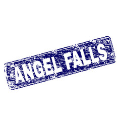 scratched angel falls framed rounded rectangle vector image