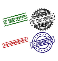 Scratched textured iso 22000 certified stamp seals vector