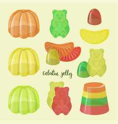 Set beautiful realistic jelly assortement vector