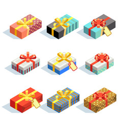 set colored 3d gift boxes with ribbons isolated vector image
