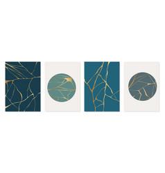 set gold kintsugi poster design japanese art vector image