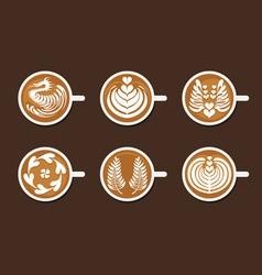 Set latte art white cup vector