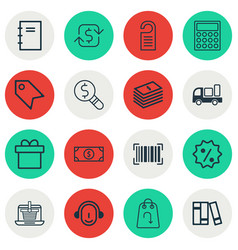 Set of 16 commerce icons includes delivery vector