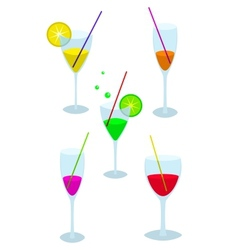 Set of glasses with a drink vector image