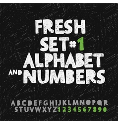 Set of hand drawing alphabet and numbers vector image