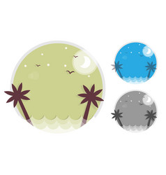 set palm trees silhouette on island round icon of vector image