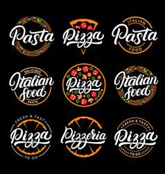 Set pizza pasta pizzeria and italian food vector