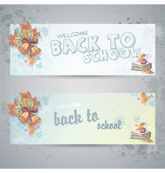 Set with two horizontal banners with school books vector image