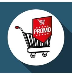 Shopping cart and promo design vector