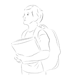 Sketchy boy with books vector image