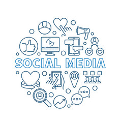 social media round concept thin line vector image