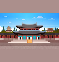 South korea landmark famous palace traditional vector