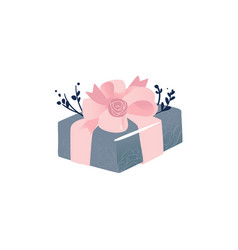 Square gray gift box with pink ribbon and large vector