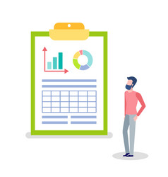 Statistics and information on clipboard and man vector