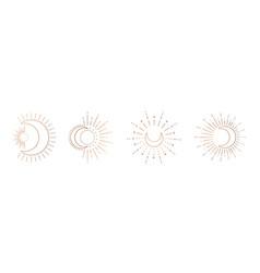 sun and moon line art clipart outline logo vector image