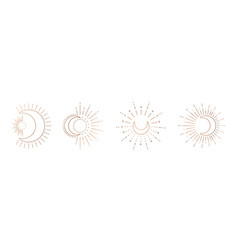 sun and moon line art clipart outline sun logo vector image