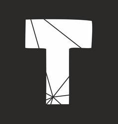 T white alphabet letter isolated on black vector