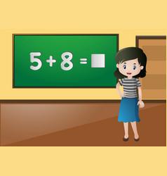 teacher teaching math in classroom vector image