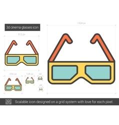 Three d cinema glasses line icon vector image