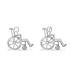 two disabled persons in wheelchairs on wite vector image