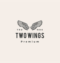 two wings hipster vintage logo icon vector image