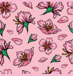 Vintage japanese floral seamless pattern vector