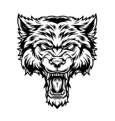 Vintage monochrome angry scary wolf head vector