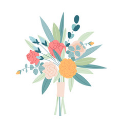 wedding concept flower bouquet floral poster vector image
