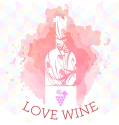 Wine tasting and love card vector
