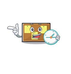 With clock bulletin board stuck to wall character vector