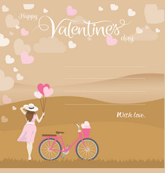 Woman holding heart shape balloons and bicycle vector
