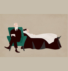 Woman lying on couch and sigmund freud sitting in vector
