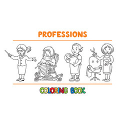 Womans profession coloring book set vector
