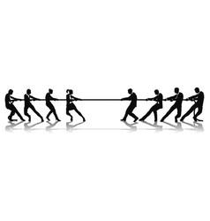 Women versus men business tug war competition vector