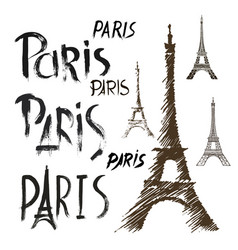 word paris eiffel tower hand drawn set vector image