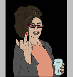 young beautiful woman shows middle finger vector image