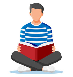 Young man sitting cross-legged and read book vector