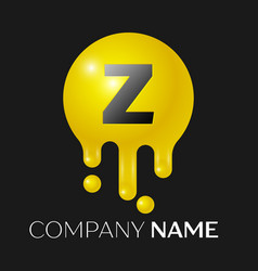 Z letter splash logo yellow dots and bubbles vector