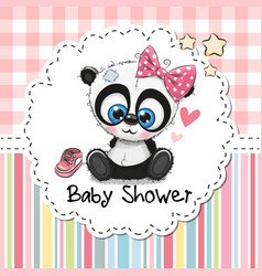baby shower greeting card with cartoon panda girl vector image