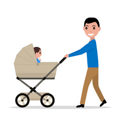 cartoon father riding a child baby carriage vector image vector image