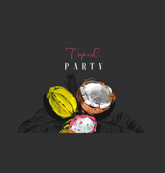 Hand drawn abstract artistic tropic party vector