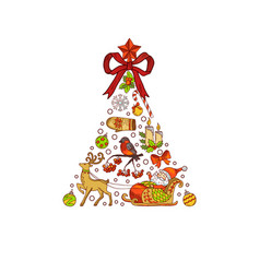 hand drawn colored christmas tree made of vector image