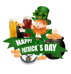 leprechaun in a green hat three kinds of beer vector image